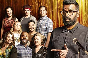 Romesh Presents.... Image shows from L to R: Rosie Jones, Ellie Taylor, Amelia Dimoldenberg, Darren Harriott, Anna Mann (Colin Hoult), Nigel Ng, Kiri Pritchard-McLean, Barry Rogers (Luke McQueen), Romesh Ranganathan. Copyright: Sky.