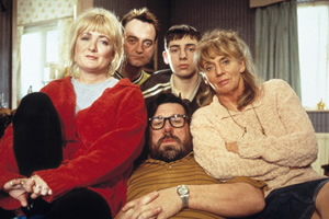 The Royle Family. Image shows from L to R: Denise Royle / Best (Caroline Aherne), Dave Best (Craig Cash), Jim Royle (Ricky Tomlinson), Antony Royle (Ralf Little).