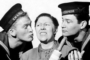 Sailor Beware. Image shows from L to R: Carnoustie Bligh (Gordon Jackson), Emma Hornett (Peggy Mount), Albert Tufnell (Ronald Lewis). Copyright: Remus Films.