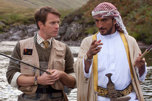 Salmon Fishing In The Yemen. Image shows from L to R: Dr Alfred Jones (Ewan McGregor), Sheikh Muhammed (Amr Waked). Copyright: Kudos Productions.