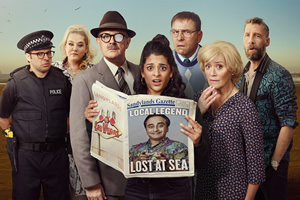 Sandylands. Image shows from L to R: Nathan Wild (Simon Bird), Tina Taylor (Harriet Webb), The One-Eyed man (Hugh Bonneville), Emily Verma (Natalie Dew), Derek Swallows (David Walliams), Jeannie Swallows (Sophie Thompson), Terry Chino (Craig Parkinson). Copyright: King Bert Productions.