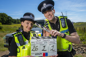 Scot Squad. Image shows from L to R: PC Jane Mackay (Ashley Smith), PC Charlie McIntosh (Chris Forbes). Copyright: The Comedy Unit.