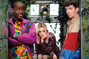 Sex Education. Image shows from L to R: Eric (Ncuti Gatwa), Maeve Wiley (Emma Mackey), Otis Milburn (Asa Butterfield). Copyright: Eleven Film.