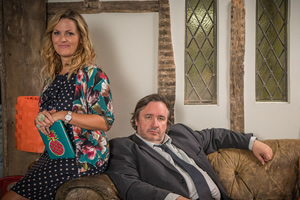 Shakespeare & Hathaway - Private Investigators. Image shows from L to R: Luella Shakespeare (Jo Joyner), Frank Hathaway (Mark Benton). Copyright: BBC.