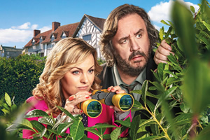 Shakespeare & Hathaway - Private Investigators. Image shows from L to R: Luella Shakespeare (Jo Joyner), Frank Hathaway (Mark Benton).