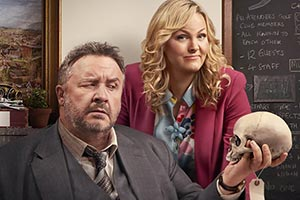 Shakespeare & Hathaway - Private Investigators. Image shows from L to R: Frank Hathaway (Mark Benton), Luella Shakespeare (Jo Joyner). Copyright: BBC.