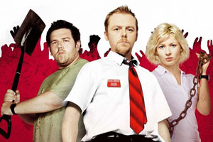 Shaun Of The Dead. Image shows from L to R: Ed (Nick Frost), Shaun (Simon Pegg), Liz (Kate Ashfield). Copyright: Working Title Films.