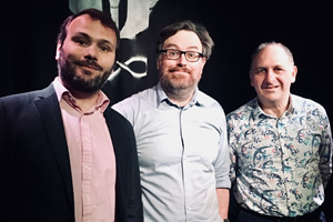 Sitcom Geeks. Image shows from L to R: John Finnemore, James Cary, Dave Cohen.