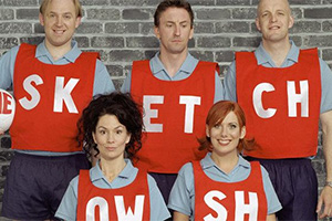 The Sketch Show. Image shows from L to R: Tim Vine, Kitty Flanagan, Lee Mack, Karen Taylor, Jim Tavaré.