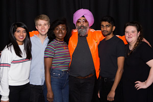 Sketchtopia. Image shows from L to R: Nimisha Odedra, Luke Manning, Vivienne Acheampong, Hardeep Singh Kohli, Paul G Raymond, Jamie-Rose Monk.