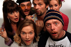 Spaced. Image shows from L to R: Marsha Klein (Julia Deakin), Mike Watt (Nick Frost), Daisy Steiner (Jessica Hynes), Brian Topp (Mark Heap), Tim Bisley (Simon Pegg), Twist Morgan (Katy Carmichael).
