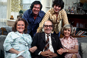 Spring & Autumn. Image shows from L to R: Betty Harris (Jo Warne), Brian Reid (Larry Martyn), Tommy Butler (Jimmy Jewel), Charlie Harris (Charlie Hawkins), Vera Reid (June Barry). Copyright: Thames Television.