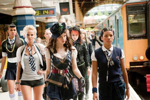 St Trinian's 2: The Legend Of Fritton's Gold. Image shows from L to R: Bianca (Zawe Ashton), Roxy (Sarah Harding), Annabelle Fritton (Talulah Riley), Zoe (Montserrat Lombard). Copyright: Fragile St Trinian's Limited / Ealing Studios.
