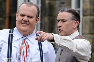Stan And Ollie. Image shows from L to R: Oliver Hardy (John C. Reilly), Stan Laurel (Steve Coogan).