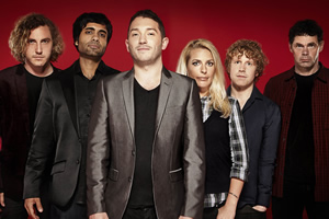 Stand Up For The Week. Image shows from L to R: Seann Walsh, Paul Chowdhry, Jon Richardson, Sara Pascoe, Josh Widdicombe, Rich Hall. Copyright: Open Mike Productions.