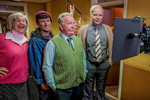 Still Game. Image shows from L to R: Isa Drennan (Jane McCarry), Pete The Jakey (Jake D'Arcy), Jack Jarvis (Ford Kiernan), Victor McDade (Greg Hemphill).