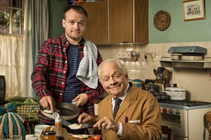 Still Open All Hours. Image shows from L to R: Leroy (James Baxter), Granville (David Jason). Copyright: BBC.