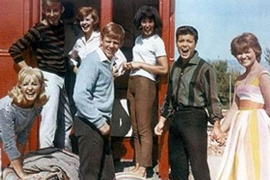 Summer Holiday. Image shows from L to R: Mimsie (Jacqueline Daryl), Cyril (Melvyn Hayes), Angie (Pamela Hart), Edwin (Jeremy Bulloch), Sandy (Una Stubbs), Don (Cliff Richard), Barbara (Lauri Peters).