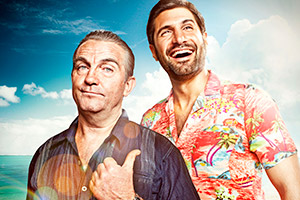 SunTrap. Image shows from L to R: Brutus (Bradley Walsh), Woody (Kayvan Novak). Copyright: Happy Tramp Productions.