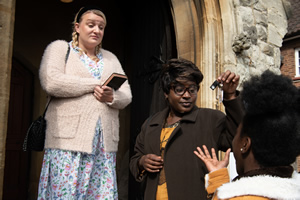 Susan Wokoma's Comedy Short. Image shows from L to R: Sally (Daisy May Cooper), Ann (Susan Wokoma). Copyright: Roughcut Television.