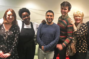 Sweats. Image shows from L to R: Lucy (Sarah Daykin), Kate (Lolly Adefope), Jake (Nick Mohammed), Frankie (Kieran Hodgson), Aunt Lois (Alison Steadman). Copyright: BBC.