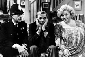 Sykes. Image shows from L to R: Corky (Deryck Guyler), Eric (Eric Sykes), Hattie (Hattie Jacques). Copyright: BBC.