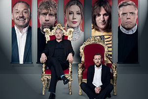Taskmaster. Image shows from L to R: Bob Mortimer, Josh Widdicombe, Greg Davies, Katherine Ryan, Alex Horne, Noel Fielding, Rob Beckett. Copyright: Avalon Television.