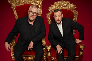 Taskmaster. Image shows from L to R: Greg Davies, Alex Horne. Copyright: Avalon Television.