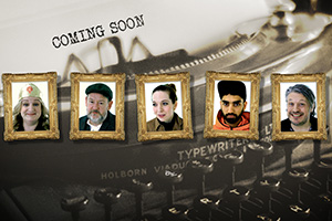 Taskmaster. Image shows from L to R: Daisy May Cooper, Johnny Vegas, Katherine Parkinson, Mawaan Rizwan, Richard Herring. Copyright: Avalon Television.