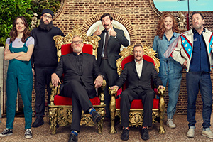 Taskmaster. Image shows from L to R: Charlotte Ritchie, Jamali Maddix, Greg Davies, Mike Wozniak, Alex Horne, Sarah Kendall, Lee Mack. Copyright: Avalon Television.