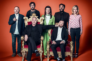 Taskmaster. Image shows from L to R: Bob Mortimer, Mark Watson, Greg Davies, Aisling Bea, Nish Kumar, Alex Horne, Sally Phillips. Copyright: Avalon Television.