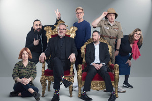 Taskmaster. Image shows from L to R: Alice Levine, Asim Chaudhry, Greg Davies, Russell Howard, Alex Horne, Tim Vine, Liza Tarbuck. Copyright: Avalon Television.
