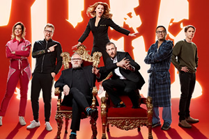 Taskmaster. Image shows from L to R: Lou Sanders, Iain Stirling, Greg Davies, Sian Gibson, Alex Horne, Paul Sinha, Joe Thomas. Copyright: Avalon Television.