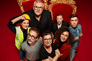 Taskmaster. Image shows from L to R: Katy Wix, David Baddiel, Greg Davies, Jo Brand, Alex Horne, Rose Matafeo, Ed Gamble. Copyright: Avalon Television.