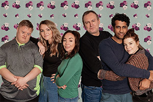 Teatime. Image shows from L to R: Uncle Bob (Steven Brandon), Lisa (Katie Redford), Donna (Samantha Spiro), Joe (Philip Glenister), Rav (Prasanna Puwanarajah), Vicky (Aimee-Ffion Edwards).
