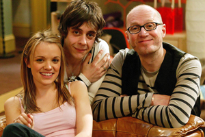 Teenage Kicks. Image shows from L to R: Milly (Laura Aikman), Max (Ed Coleman), Vernon (Adrian Edmondson). Copyright: Phil McIntyre Entertainment.