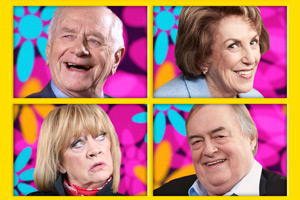 The Baby Boomers' Guide To Growing Old. Image shows from L to R: Johnny Ball, Amanda Barrie, Edwina Currie, Lord John Prescott. Copyright: Liberty Bell.