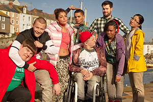 The Bad Education Movie. Image shows from L to R: Joe (Ethan Lawrence), Mitchell (Charlie Wernham), Chantelle (Nikki Runeckles), Stephen (Layton Williams), Rem Dogg (Jack Binstead), Alfie (Jack Whitehall), Chantelle (Nikki Runeckles), Jing (Kae Alexander). Copyright: Entertainment In Video.