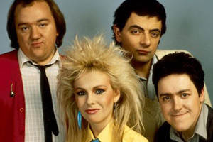 The Best Of Not The Nine O'Clock News. Image shows from L to R: Mel Smith, Pamela Stephenson, Rowan Atkinson, Griff Rhys Jones. Copyright: BBC.