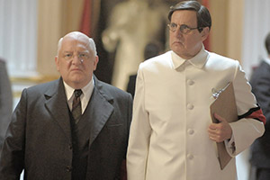 The Death Of Stalin. Image shows from L to R: Lavrentiy Beria (Simon Russell Beale), Georgy Malenkov (Jeffrey Tambor).
