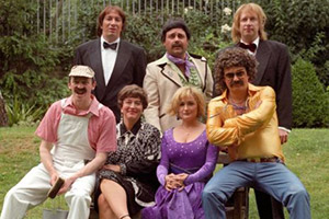 The Fast Show. Image shows from L to R: Paul Whitehouse, Simon Day, Arabella Weir, John Thomson, Caroline Aherne, Charlie Higson, Mark Williams. Copyright: BBC.