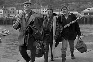 The Fishing Party. Image shows from L to R: Art (Brian Glover), Ern (Ray Mort), Abe (Douglas Livingstone). Copyright: BBC.