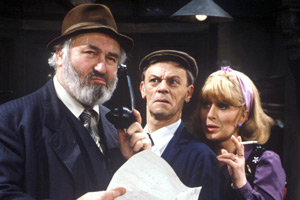 The Gaffer. Image shows from L to R: Fred Moffat (Bill Maynard), Harry (Russell Hunter), Betty (Pat Ashton). Copyright: Yorkshire Television.