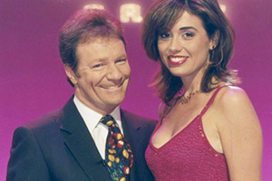 The Generation Game. Image shows from L to R: Jim Davidson, Melanie Stace. Copyright: BBC.
