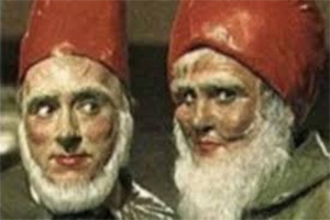 The Gnomes Of Dulwich. Image shows from L to R: Small (Hugh Lloyd), Big (Terry Scott). Copyright: BBC.