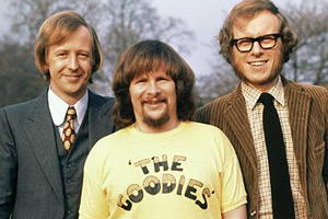 The Goodies. Image shows from L to R: Tim (Tim Brooke-Taylor), Bill (Bill Oddie), Graeme (Graeme Garden). Copyright: BBC.