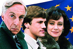 The Gravy Train. Image shows from L to R: Michael Spearpoint (Ian Richardson), Hans-Joachim Dorfmann (Christoph Waltz), Gianna Melchiori (Anita Zagaria).