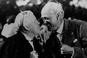 The Happiest Days Of Your Life. Image shows from L to R: Muriel Whitchurch (Margaret Rutherford), Wetherby Pond (Alastair Sim). Copyright: London Films / Individual Pictures.