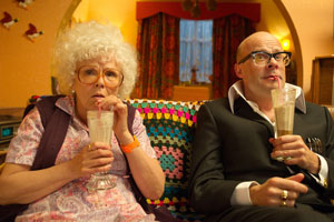 The Harry Hill Movie. Image shows from L to R: Nan (Julie Walters), Harry Hill (Harry Hill). Copyright: Lucky Features.