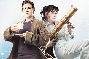 The Hitchhiker's Guide To The Galaxy. Image shows from L to R: Arthur Dent (Martin Freeman), Trillian (Zooey Deschanel).